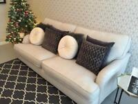 4 seater cream linen sofa, excellent condition