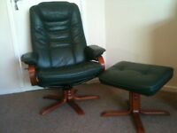 Green leather /PVC reclining, swivel chair with footstool in top condition