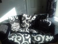 3 seater and 2 seater sofa black &grey