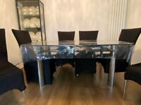 Glass Dining Table - With 6 chairs