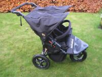 Out n About Nipper 360 Double Pushchair, V4 in Raven Black with rain cover - EXCELLENT CONDITION