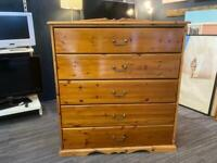 Pine chest of drawers approx 117cm wide depth 50cm height 129cm
