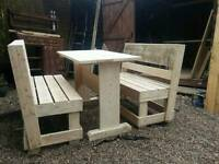 Garden bench and table set