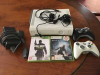 Xbox 360 white with games and controllers