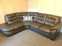 ~ REIDS LUXURY ~ TAUPE LIGHT BROWN ~ FULL LEATHER CORNER SOFA SUITE