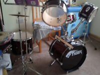 Tiger Drum kit, junior kit containing 5 drums and 2 cymbals