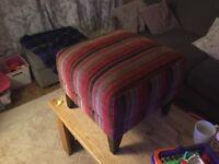 Striped fabric foot stool