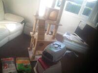 Rapunzel cat frame, carrier, litter tray ........
