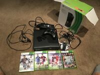 xbox 360 S 250 Gb with one controler and 4 games