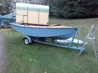 Traditional wooden sailing dinghy and trailer 12ft