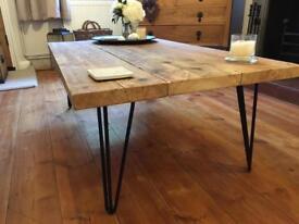 Reclaimed Timber Scaffold Board Coffee Table on Black Retro Hairpin Legs