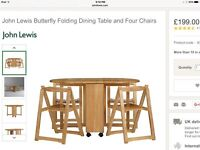John Lewis White Butterfly table & 4 chairs