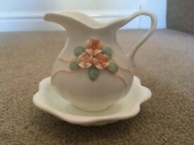 Vintage M&S Fine White China Jug & Bowl ornament with flower detail VGC