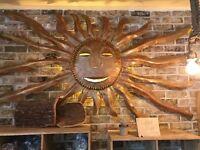 Handcrafted Bronze Sun Wall Lamp