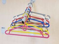 ADULT PLASTIC COLOURED COAT CLOTHES HANGERS WITH TROUSER BAR