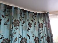 2 large turquoise lined full length curtains in excellent condition 230cm drop x 310cm wide