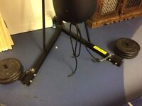 Hardly Used, freestanding BBE kickboxing punch bag. 6 x 10kg weights Max width 160cm, height 220cm