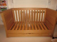 Beautiful Mamas and Papas Golden Oak Cot Bed