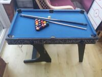 Multi-sports table with table football, air hockey, ping pong, pool with accessories. foldable