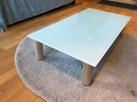 Coffee Table - GLASHOLM table top and BÅTSFJORD legs - glass + birch