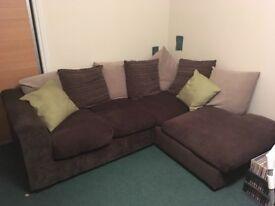 Corner sofa, excellent condition, brown fabric