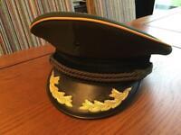 Green military peaked cap