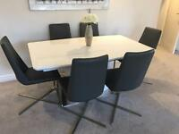 Contemporary white gloss extendable dining table seats 6-10