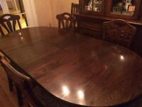 Solid Oak Dining Room Table and Chairs with Matching Display Cabinet