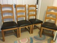Dining chairs - oak and faux leather