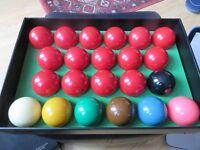 Snooker balls, Super Crystalate, brilliant condition, full size.