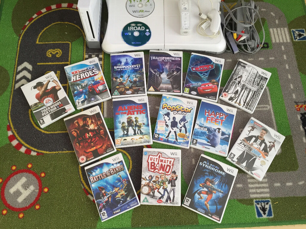 Nintendo Wii 14 games. Balance board. Controller. Sensor bar. All wires includedin Ruislip, LondonGumtree - Nintendo Wii console plus 16 games bundle incl. Wii fit plus Cars 2 resident evil Transformers mickey epic 2 etc. Nintendo console , white in very good condition, comes with balance board, wireless remote , sensor bar, transparent jacket, nun chuck,...