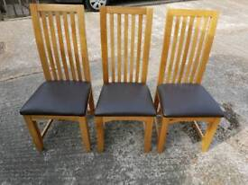 3 oak dining chairs