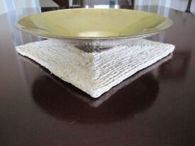 Large 9.5 inches diameter gold patina effect bowl depth 2 inches in mint condition.