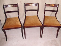 3 x 1810 Regency Brass Embossed Indian Rosewood Chairs