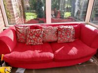 Red/grey sofa chair and storage footstool matching suite