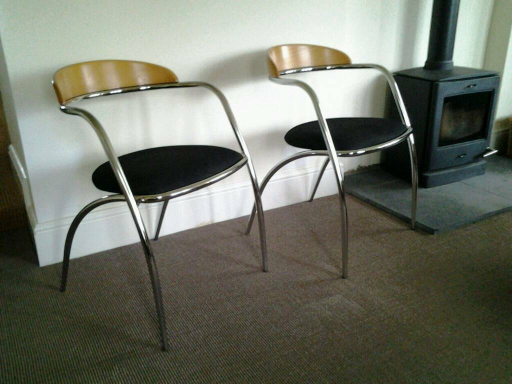 Pair Of Italian Effezeta Retro Chrome And Wood Chairs