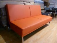 Red faux leather Sofa Bed 3 seater