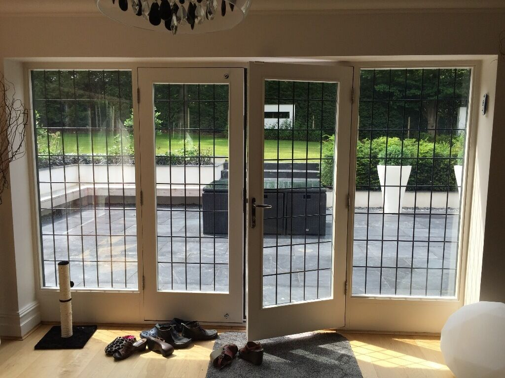 Wooden Leaded Double Glazed French Patio Doors In Good Conditiono