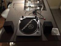 Audio Technica Turntable and Speakers