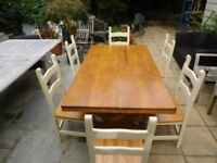 Oak Dining Table 1.8m x 1m & 6 Chairs