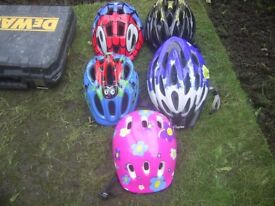 Job lot of 5 Kids Cycle Helmets excellent condition