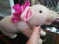 Large cuddly pig with bow
