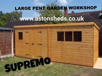 20 x 10'Large Pent Garden Shed Heavy Duty Ship Lap Tongue and Groove Timber Double Doors Fitted FREE