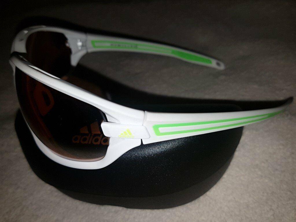865aae2b777 new Adidas Evil Eye Evo L White Matt Green LST Bright Silver Sunglasses  a418 00 6052