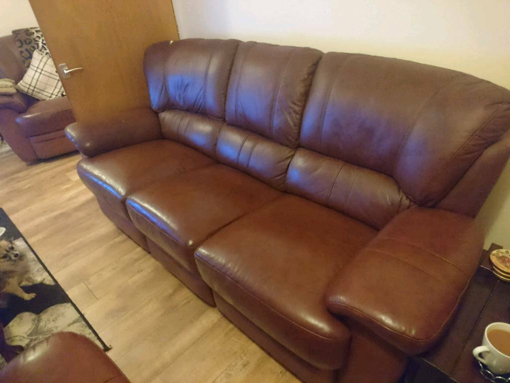Brown fully leather 3 piece suite