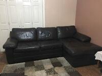 chocolate brown leather corner sofa