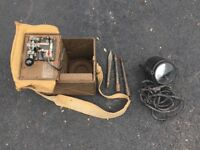 WW2 British Cased Signal Lamp & Morse Code Key Unit with headphones
