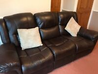 Leather Three seater sofa with chair