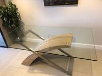 elegant modern glass table and 4 matching chairs