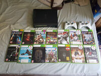 Xbox 360 elite 250gb 2 controllers 14 games excellent condition